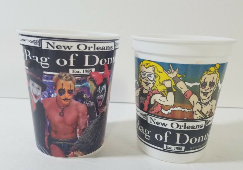2 KISS Band Mardi Gras Plastic Cups Bag of Donuts Super Pop New Orleans