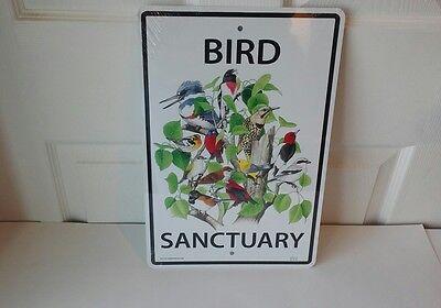 "BIRD SANCTUARY 10"" x 15""  White Aluminum Sign - Made in USA"