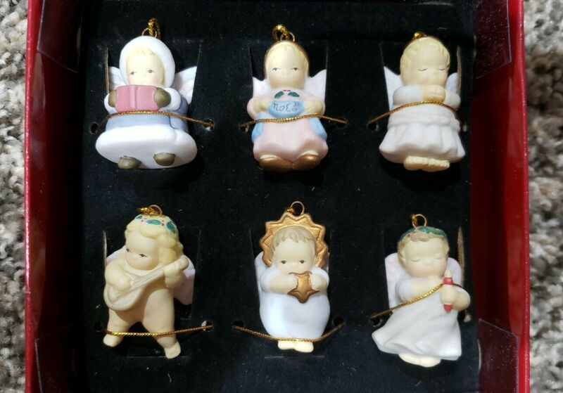 Michael & Company Set Of 6 wee miniature ANGEL Porcelain Christmas Ornaments