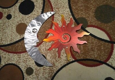 Sun And Moon Metal Wall Art outdoor wall Decor   Indoor plasma cut Home Accent ()
