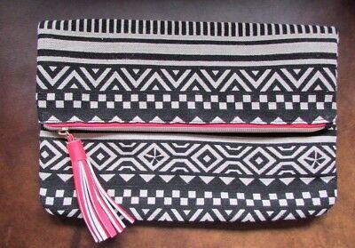 New Bergdorf Goodman Black/Tan/Pink Tribal Canvas Tassel Foldover Cosmetics Bag (Tribal Makeup)