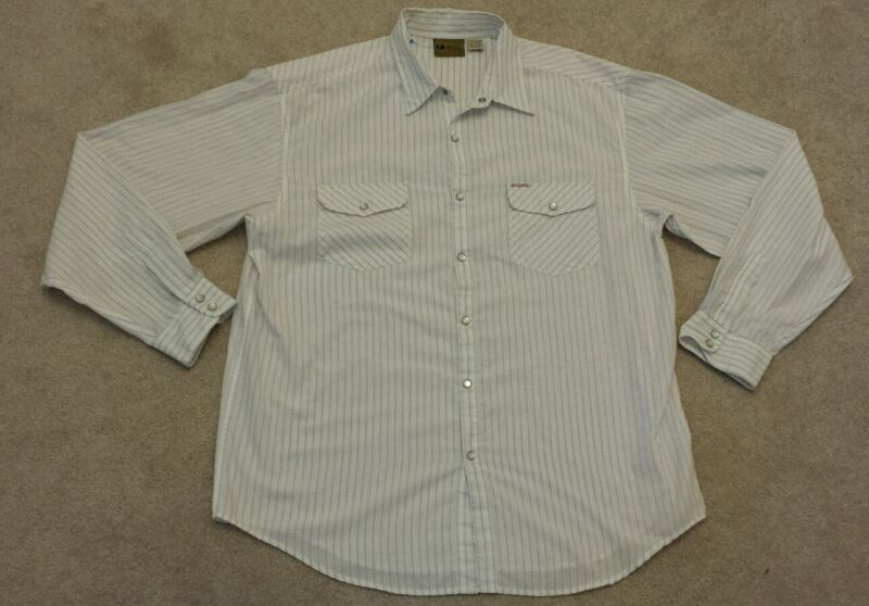 BUCKLE BKE 67 WHITE X-LARGE striped long sleeve western shirt