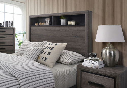 Grey Color Casual Modern Cal King Size Bed Bookcase Storage Bedroom Furniture
