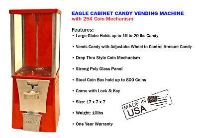 Eagle Cabinet 25 Candy Chiclets Mm Vending Machine New One Year Warranty