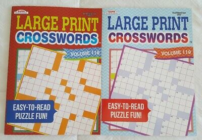 2 Large Print Crossword Puzzle Books Easy To Read