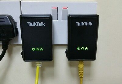 2 x D-Link TalkTalk Powerline Adapters DHP-300AV BT, Sky, HomePlug + Ethernet