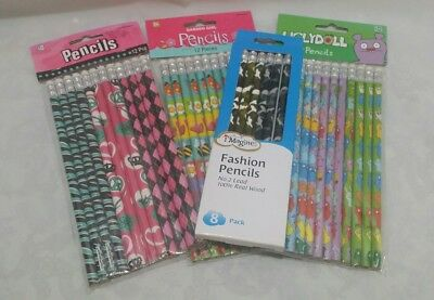 Novelty Pencil Lot 4 Packs School Supply Party Favor Ugly Doll Pink Fun Giveaway