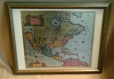 ABRAHAM ORTELIUS MAP : AMERICAE SEPTENTRIO FRAMED