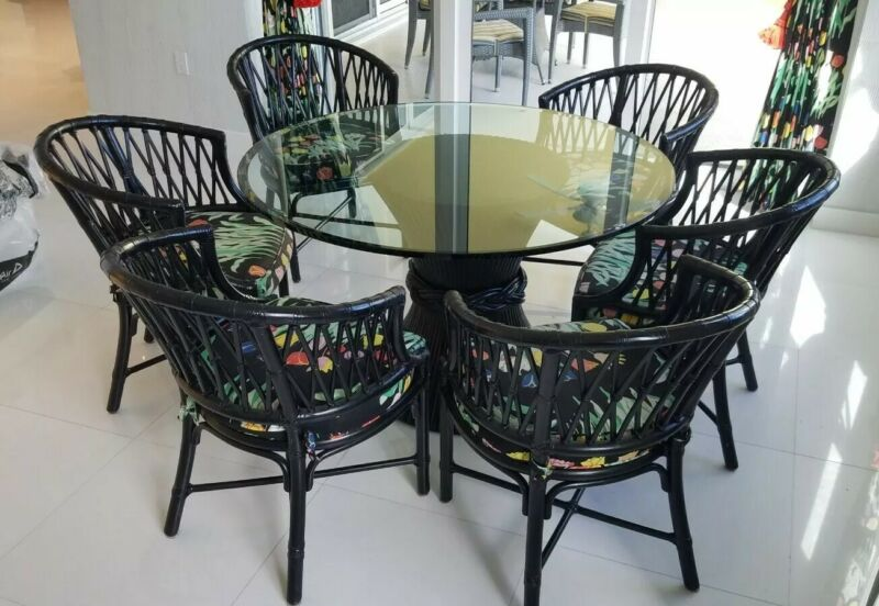 LEATHER WRAPPED MCGUIRE RATTAN DINING SET