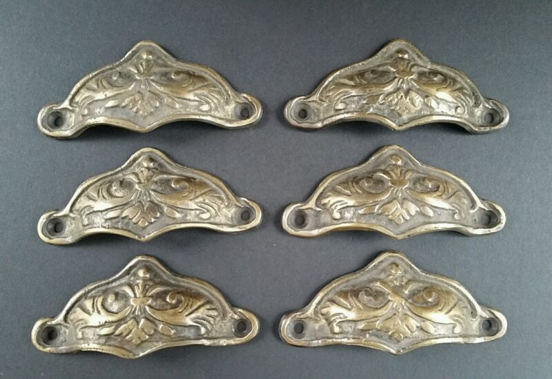 6 Brass Antique Style Victorian Swag Apothecary Cabinet Drawer Handles Pull #A10
