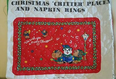 Set of 4 Christmas Critters holiday placemats ready to make plus Napkin rings