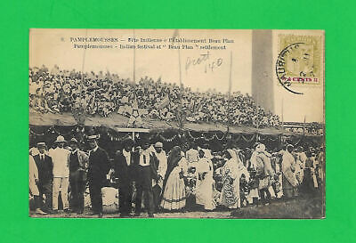 """MAURITIUS  1923 OLD POST CARD to CHICAGO-SCARCE """"INDIAN FESTIVAL"""" GOOD 4p STAMP"""