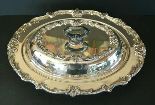 """Friedman Silver Co. Ornate Silverplate Covered 12"""" Serving Dish"""