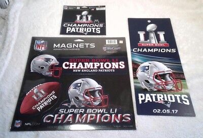 New England Patriots 2017 Super Bowl LI Champions Magnet 3 Pk Decal Ticket Sign