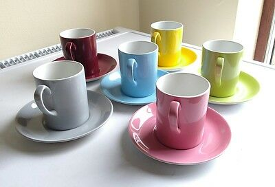 6 1950's Alfred Meakin Coffee Cups mugs & Saucers multi colored