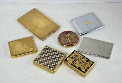 Vintage Powder Compacts, Cigarette Case, Mirrors Case, Card Case  Lot of 7