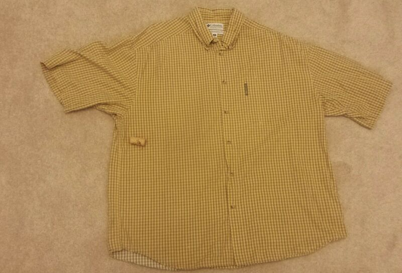 Columbia XL yellow plaid /checked cotton short sleeve