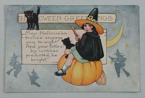 HALLOWEEN GREETINGS Black Cats & Cute Witch Whitney Made Embossed Postcard 8597