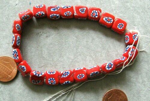 Vintage Red Millefiori 10x10 Beads 40 pc lot