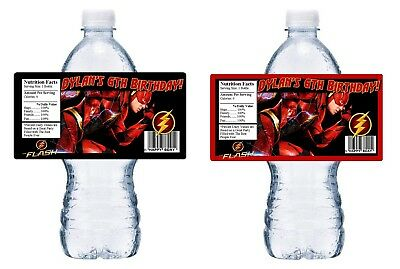 Cheap Water Bottles (THE FLASH PERSONALIZED BIRTHDAY PARTY FAVORS WATER BOTTLE LABELS WRAPPERS)