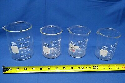 Lot Of 4 Pyrex Beakers 600 Ml 400 Ml Vintage Lab Equipment Glass Flask Funnel