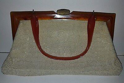 1940s Handbags and Purses History VINTAGE MESH WHITING DAVIS HANDBAG BUTTERSCOTCH LUCITE / BAKELITE HANDLE  $37.16 AT vintagedancer.com