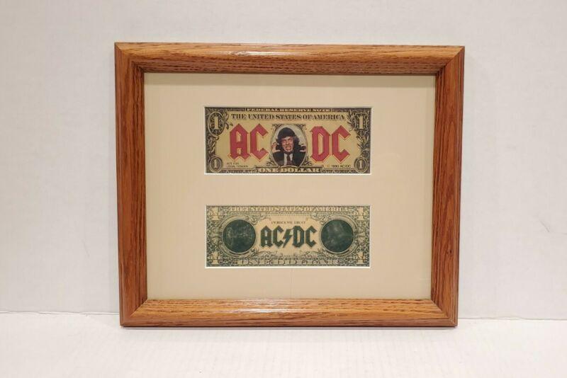 AC/DC Razors Edge MONEY TALKS Angus Young Promotional One Dollar Bill 1990 frame