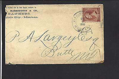 Virginia City  Montana Cover 1885   Territorial   Bank Corner Advt  Madison 1864