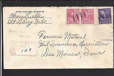 Saint Libory  Nebraska 1939 Registered Prexy Cover To Des Moines Howard Co 1878