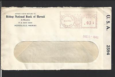 Honolulu Hawaii 1942 Territorial Cover  Advt Bishop National Bank Of Hawaii