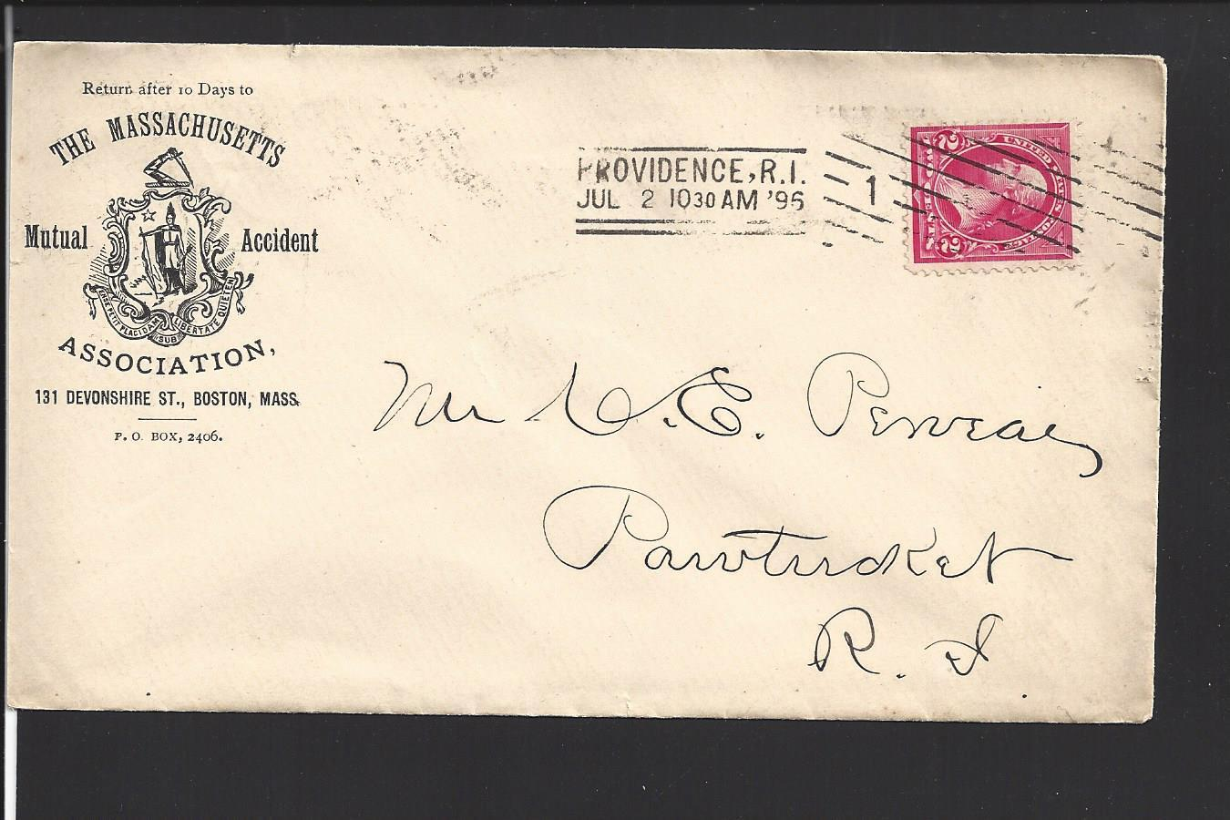 Details about PROVIDENCE, RHODE ISLAND COVER,1895  ST LINE CANCEL &  MACHINE