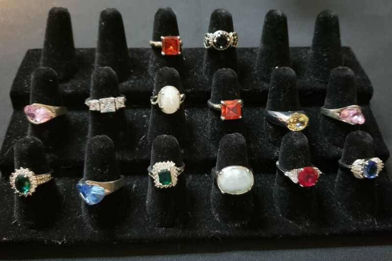 Silver tone silver plate glass crystal rings