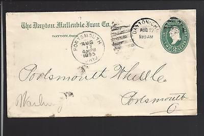 DAYTON, OHIO  1895 COVER TO PORTSMOUTH,OH. ADVT  THE DAYTON MALLEABLE IRON (The Green Dayton Ohio)