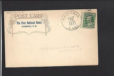 Hagerman  New Mexico 1911 Territorial Cl On Postcard   First Natl  Bank