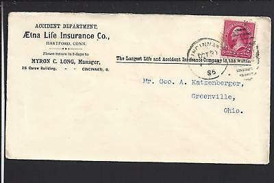 Cincinnati  Ohio 1896 Cover To Greenville Oh  Ad  Aetna Life Insurance Co