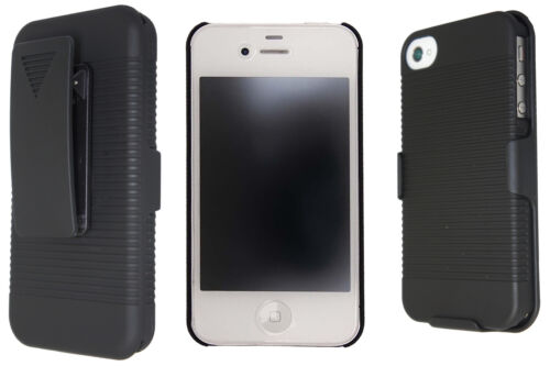 Oker Hard Rubberized Case/Belt Holster For iPhone 4 or 5 - Black or White