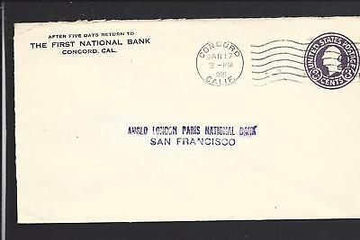 Concord  California  1921 Cover To San Francisco  Advt  First National Bank