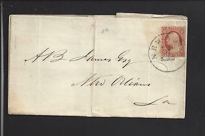 NEW YORK,NEW YORK 1856,#11 S.O.N. ON FOLDED COVER TO NEW ORLEANS.BUSINESS -