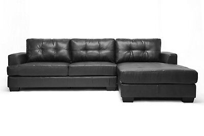 Modern Black Leather-Soft* Tufted Sectional Sofa Chaise Set ()