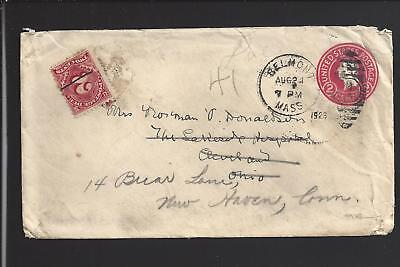 For sale BELMONT, MASSACHUSETTS 1923 FORWARDED COVER WITH 2CT POSTAGE DUE, TO NEW HAVEN.