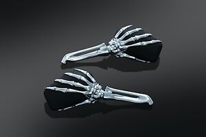 Kuryakyn 1759 Skeleton Hand Mirrors Chrome Stem with Black Head UNIVERSAL