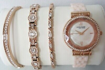 Anne Klein 12/2316BHST Women's 33mm Ceramic Bracelet Watch + Bracelet Set *NEW*