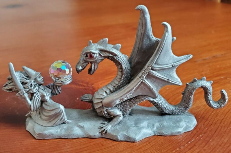 Spoontiques Pewter Red Eye Dragon Wizard / Witch Holding Crystal VTG 1986 CMR632