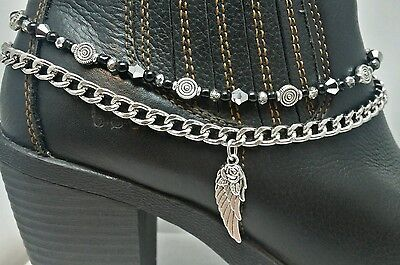Boot Bling Anklet Chain Bracelet Jewelry Angel Wing Silver Black Beads Biker