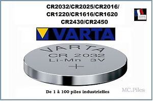 Piles-boutons-3V-lithium-Varta-CR2032-2025-2016-1220-1616-1620-2430-2450