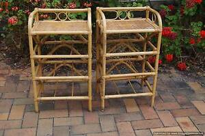 Pair Vintage Chippendale style Rattan Bedside Tables Brighton Bayside Area Preview