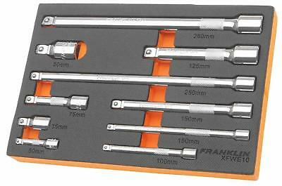 "Franklin Tools XFWE10 XF 10 pce Wobble Extension Bar Set 1/4"" 3/8"" 1/2"" Drive"