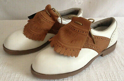 NEW Wilson Staff White/Brown Leather Saddle Golf Shoes w/ Cleats Women's Size 5