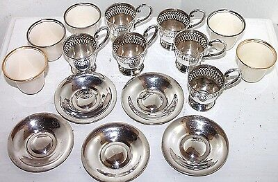 ANTIQUE STERLING SILVER DEMITASSE CUPS & UNDERPLATES W/ LENOX PORCELAIN LINERS.