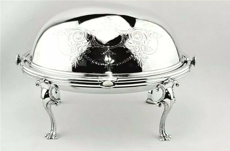 VICTORIAN ENGLISH SILVERPLATE FOOTED DOME ROLL TOP BACON BREAKFAST SERVER 2TRAYS